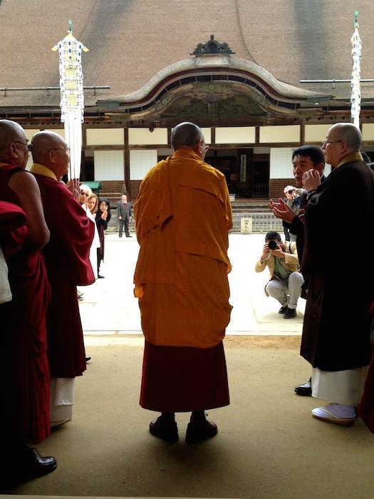 HH Dalai Lama entering the temple at Mt Koya